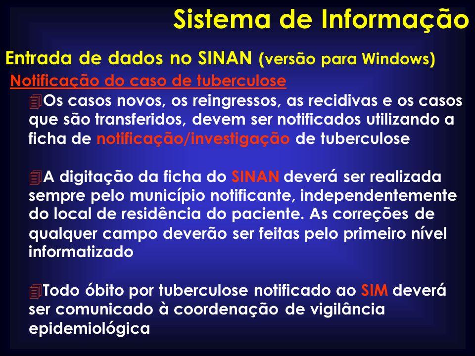 Sistema de Informação Entrada de dados no SINAN (versão para Windows)