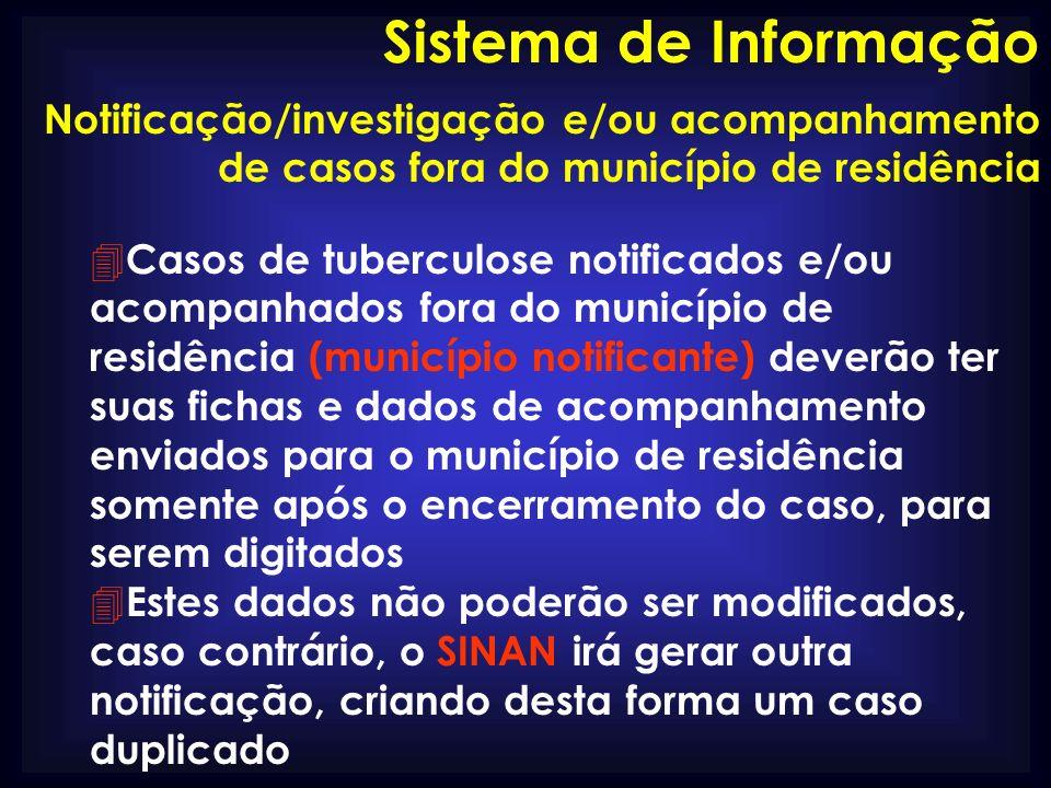 Sistema de Informação Notificação/investigação e/ou acompanhamento de casos fora do município de residência.