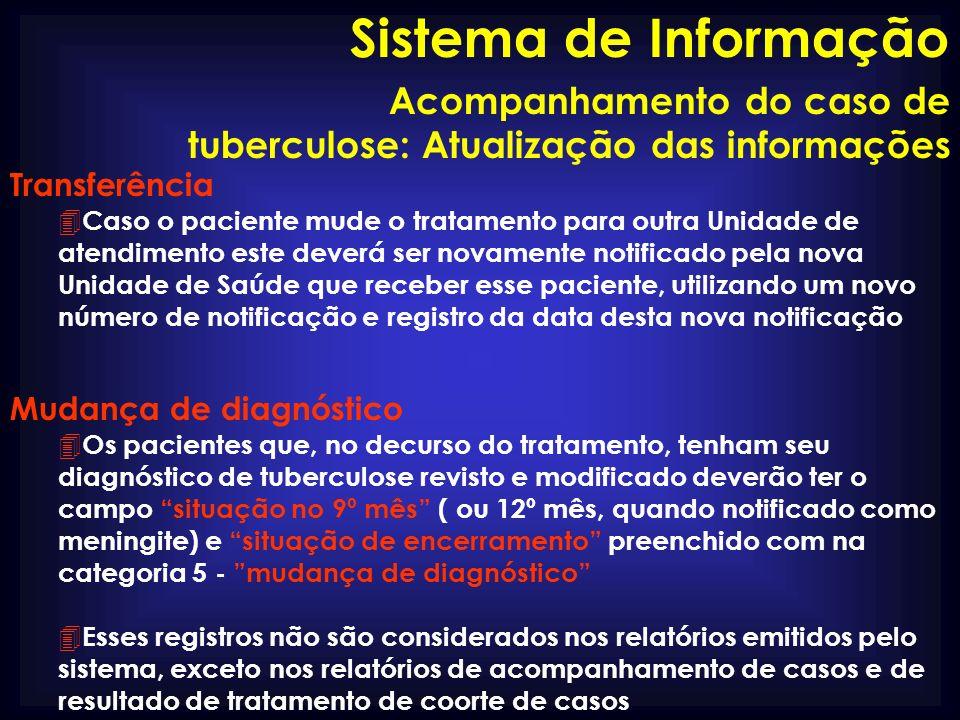 Sistema de Informação Acompanhamento do caso de tuberculose: Atualização das informações. Transferência.