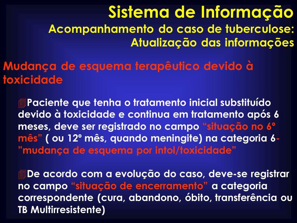 Sistema de Informação Acompanhamento do caso de tuberculose: Atualização das informações. Mudança de esquema terapêutico devido à toxicidade.
