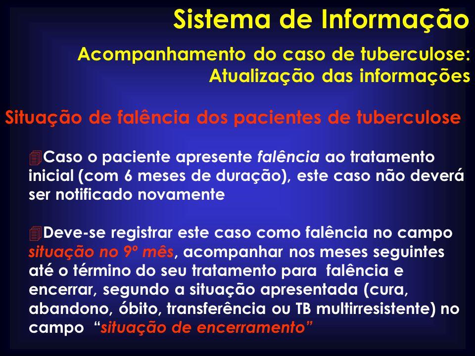 Sistema de Informação Acompanhamento do caso de tuberculose: Atualização das informações. Situação de falência dos pacientes de tuberculose.