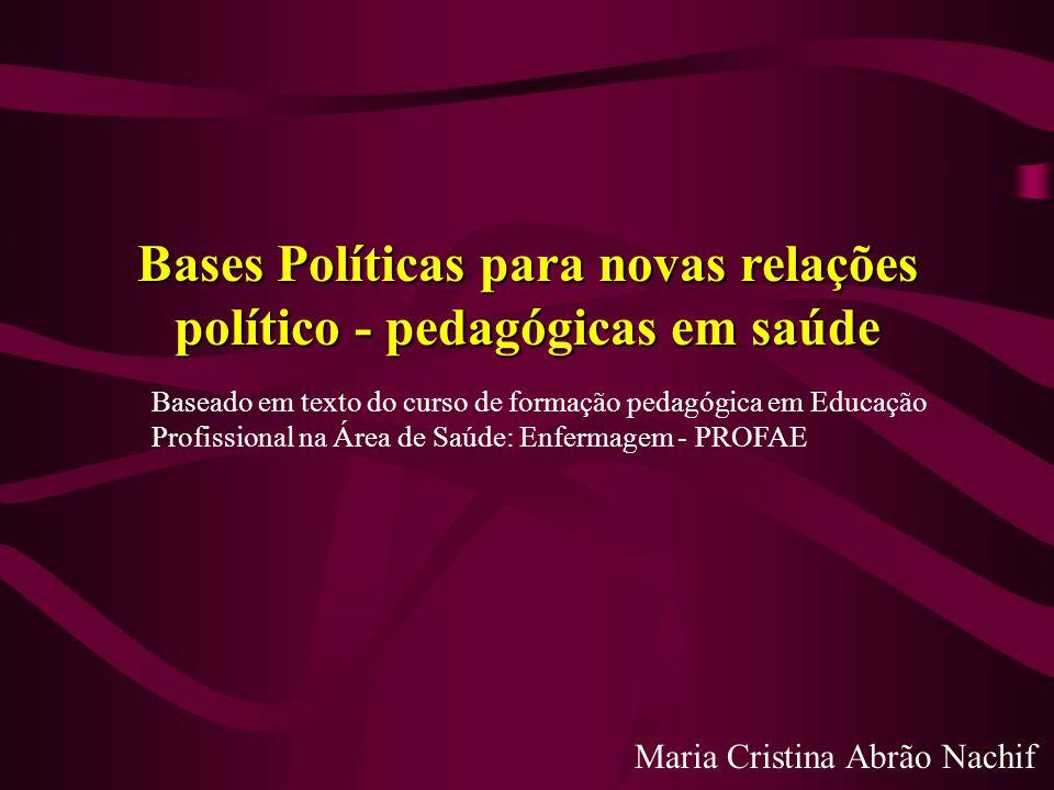Bases Políticas para novas relações político - pedagógicas em saúde