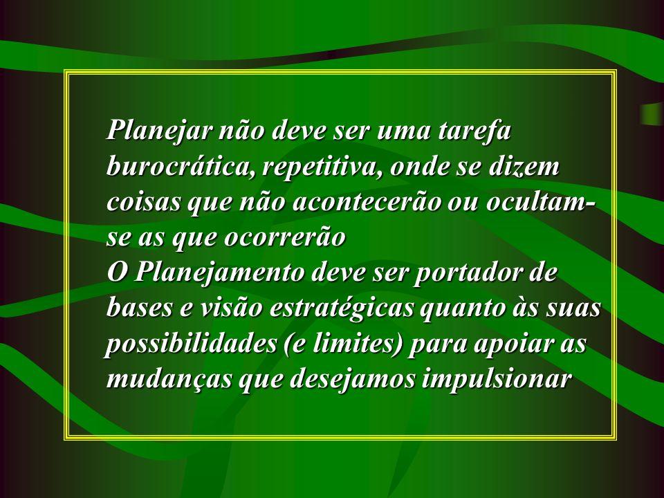 Planejar não deve ser uma tarefa burocrática, repetitiva, onde se dizem coisas que não acontecerão ou ocultam-se as que ocorrerão