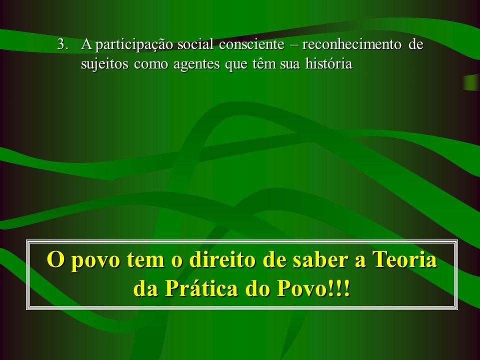 O povo tem o direito de saber a Teoria da Prática do Povo!!!