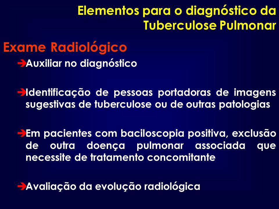 Exame Radiológico Elementos para o diagnóstico da Tuberculose Pulmonar