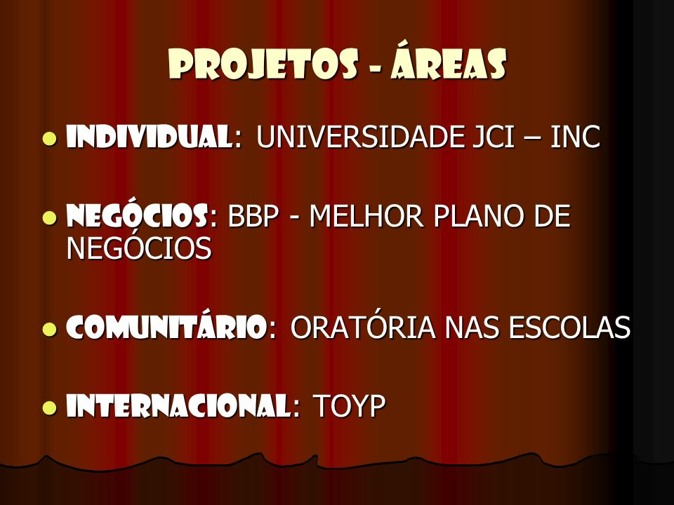 PROJETOS - ÁREAS Individual: UNIVERSIDADE JCI – INC
