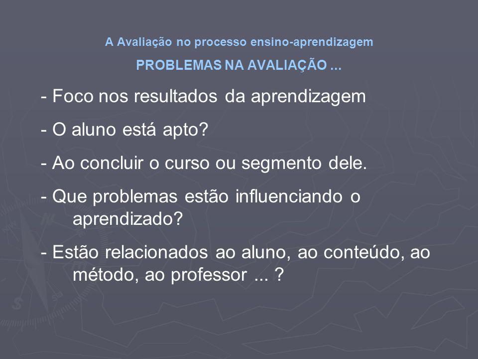 A Avaliação no processo ensino-aprendizagem PROBLEMAS NA AVALIAÇÃO ...