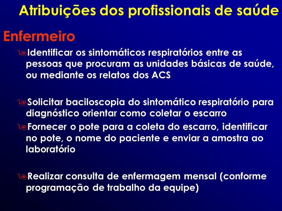Atribuições dos profissionais de saúde