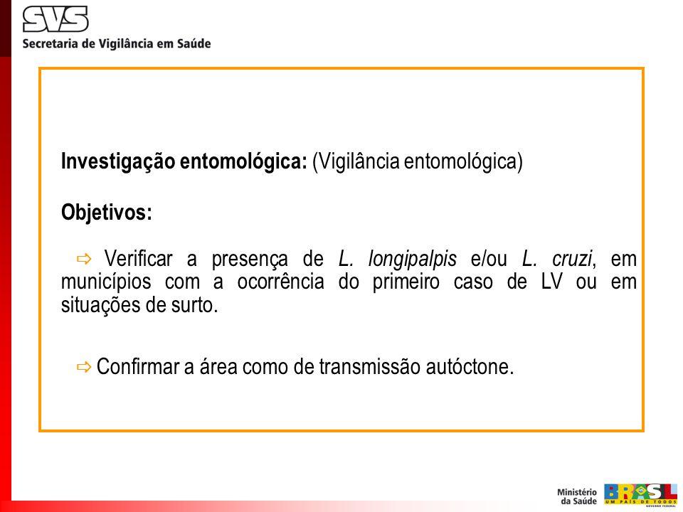 Investigação entomológica: (Vigilância entomológica) Objetivos: