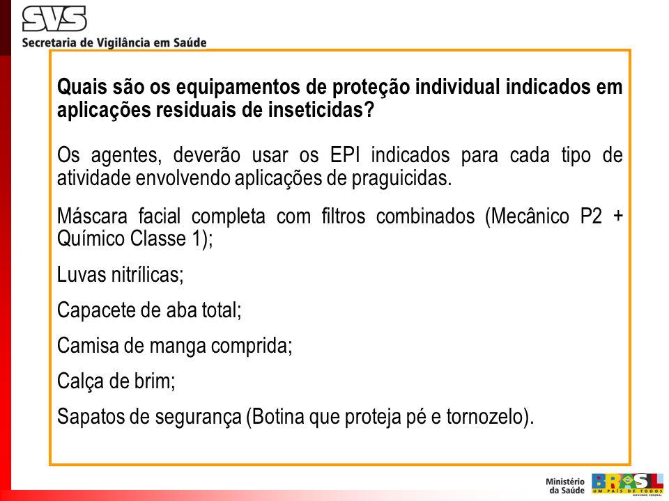 Quais são os equipamentos de proteção individual indicados em aplicações residuais de inseticidas