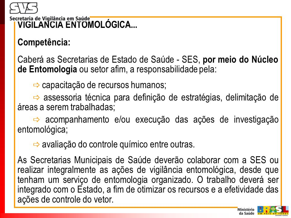 VIGILÂNCIA ENTOMOLÓGICA...