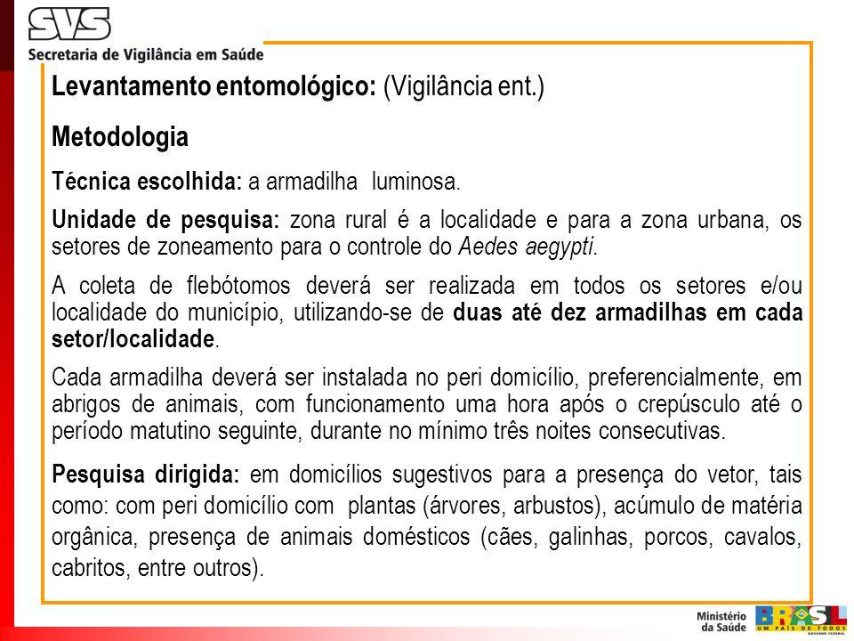 Levantamento entomológico: (Vigilância ent.) Metodologia