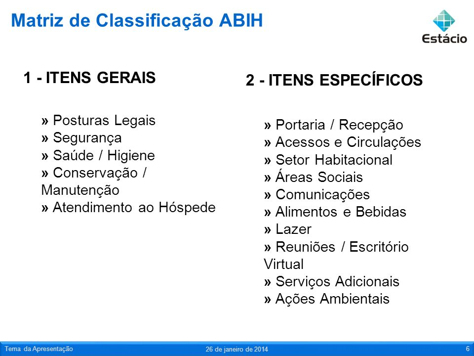 Matriz de Classificação ABIH