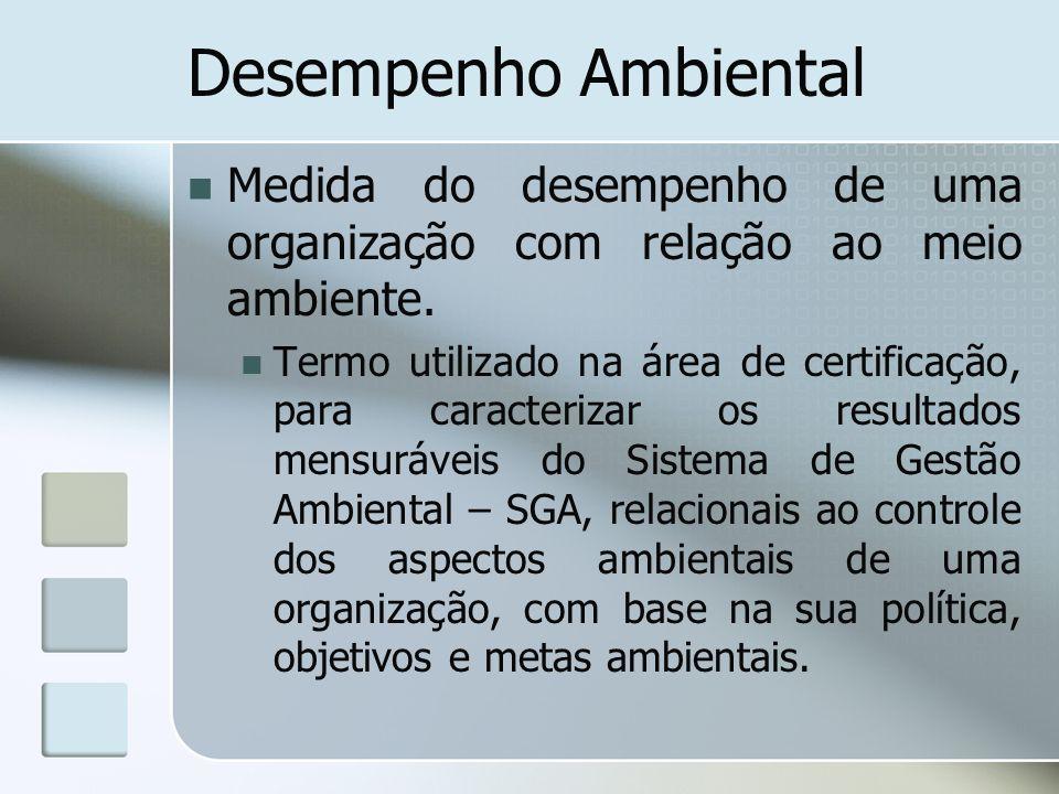 Desempenho Ambiental Medida do desempenho de uma organização com relação ao meio ambiente.