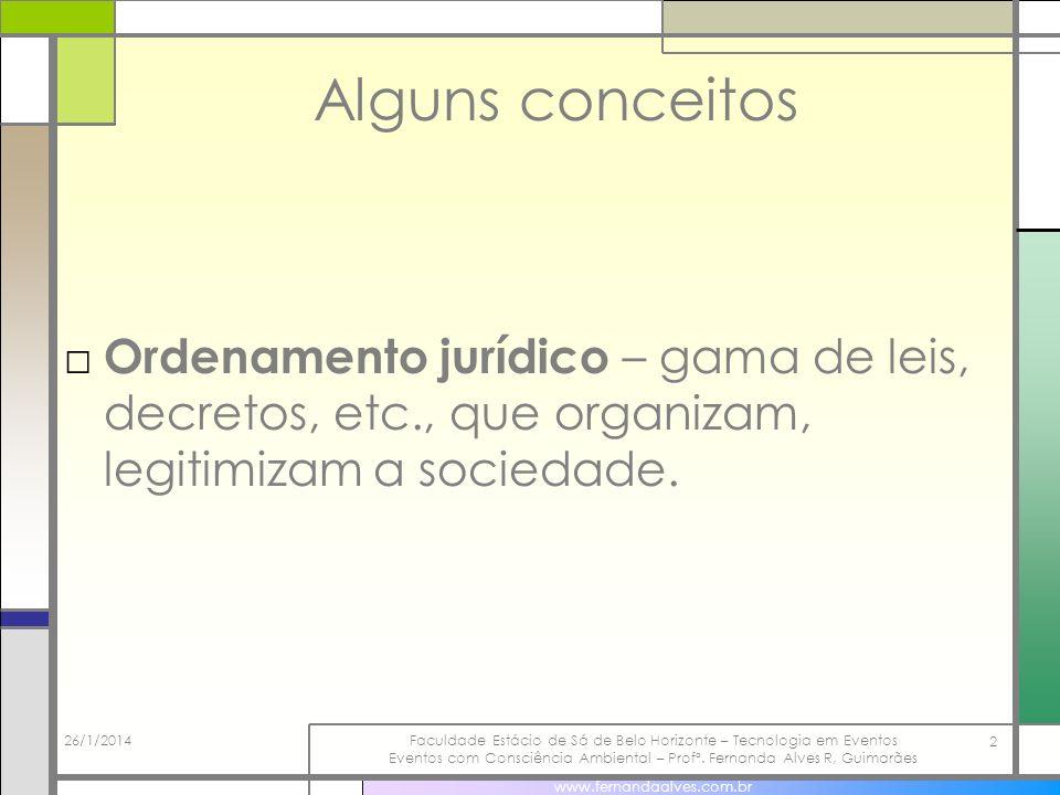 Alguns conceitos Ordenamento jurídico – gama de leis, decretos, etc., que organizam, legitimizam a sociedade.