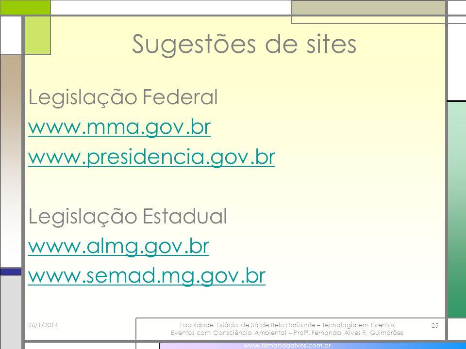 Sugestões de sites Legislação Federal www.mma.gov.br www.presidencia.gov.br Legislação Estadual www.almg.gov.br www.semad.mg.gov.br