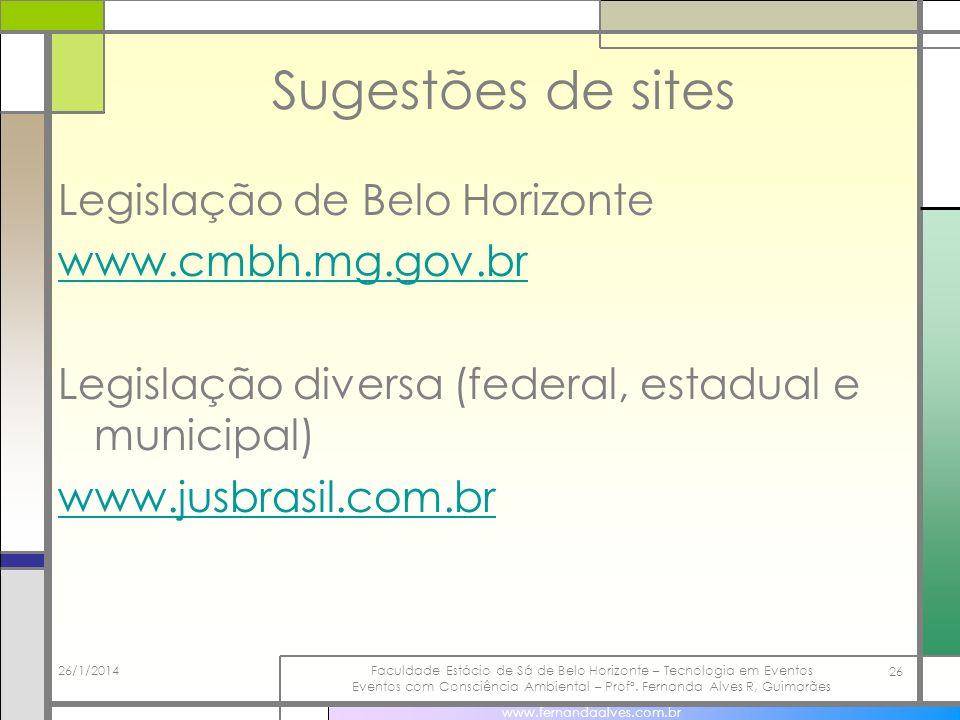 Sugestões de sites Legislação de Belo Horizonte www.cmbh.mg.gov.br Legislação diversa (federal, estadual e municipal) www.jusbrasil.com.br