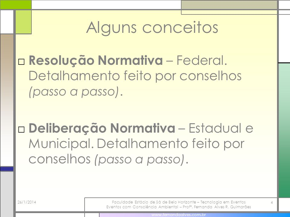 Alguns conceitos Resolução Normativa – Federal. Detalhamento feito por conselhos (passo a passo).