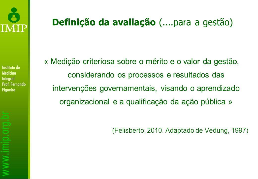 Definição da avaliação (....para a gestão)