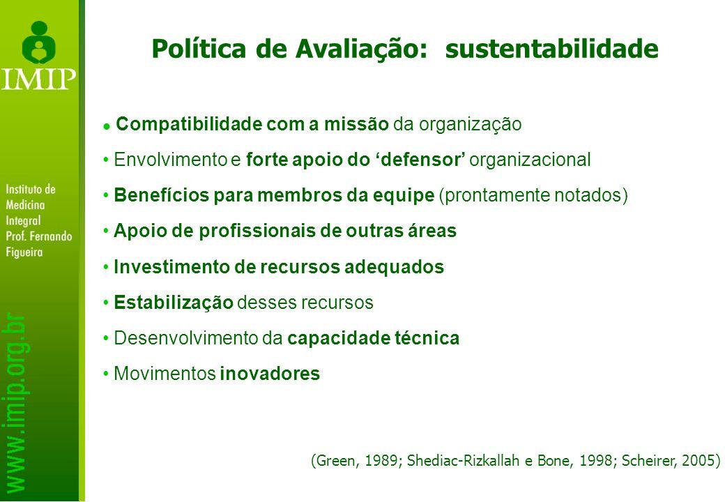 Política de Avaliação: sustentabilidade