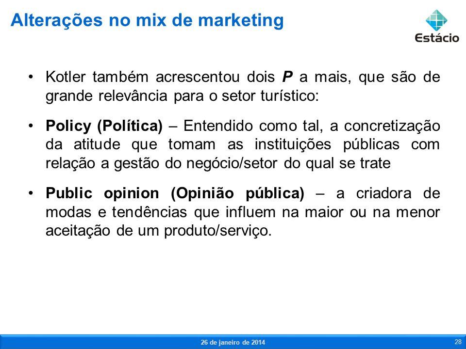 Alterações no mix de marketing