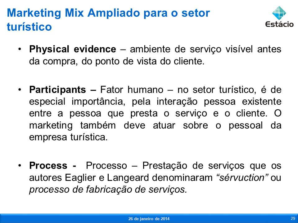 Marketing Mix Ampliado para o setor turístico