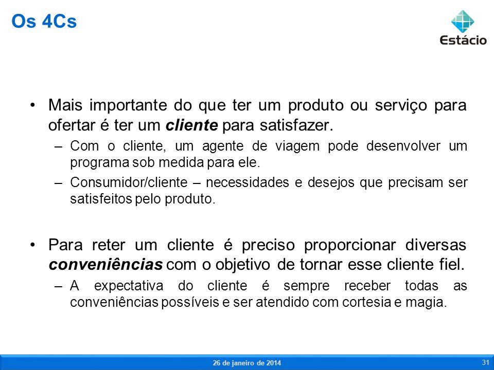 Os 4Cs Mais importante do que ter um produto ou serviço para ofertar é ter um cliente para satisfazer.