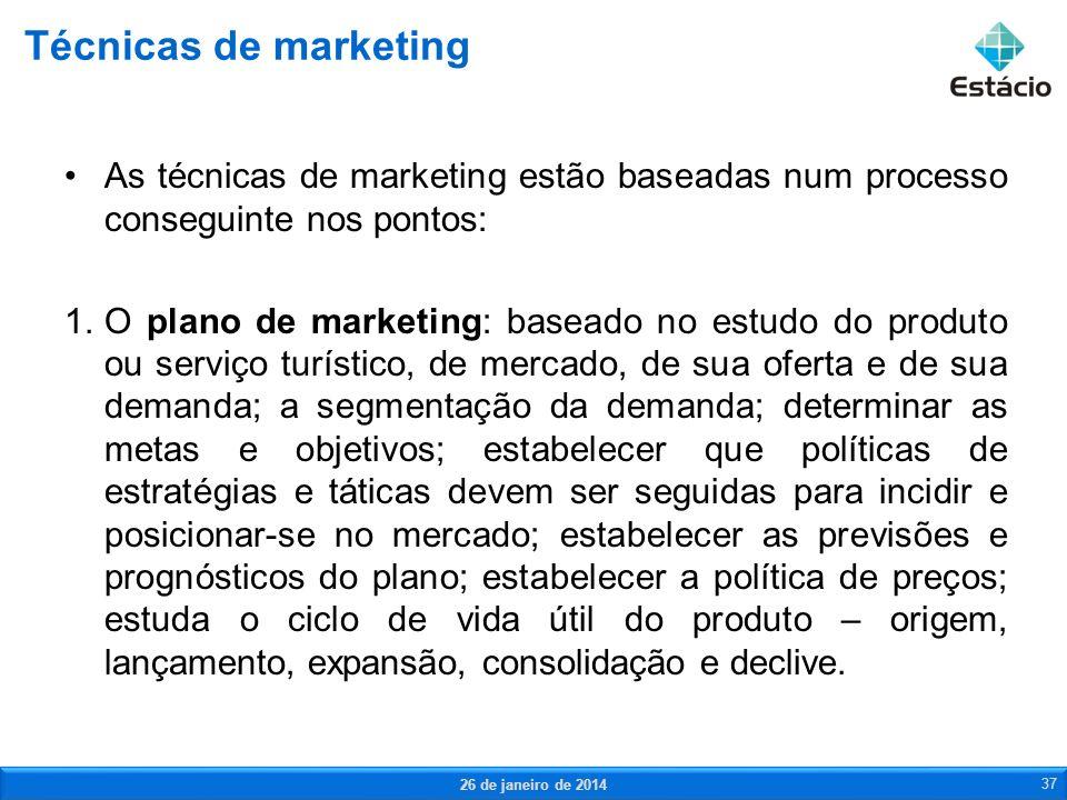 Técnicas de marketing As técnicas de marketing estão baseadas num processo conseguinte nos pontos: