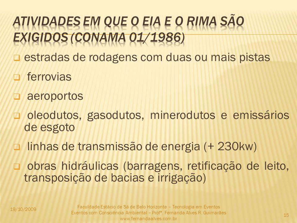 ATIVIDADES EM QUE O EIA e o RIMA SÃO EXIGIDOS (CONAMA 01/1986)