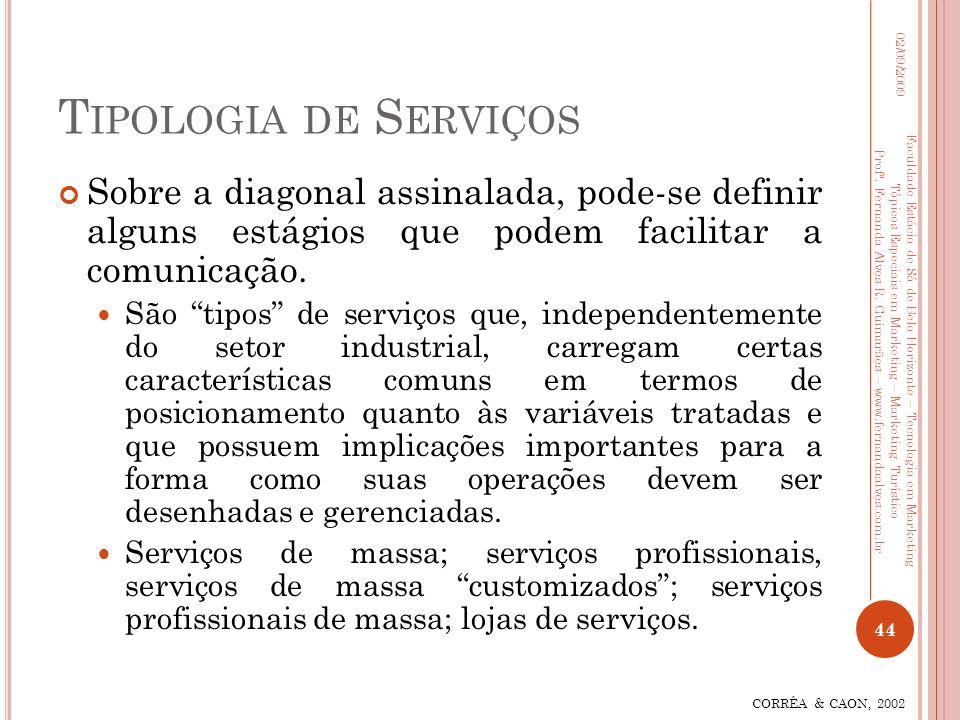 Tipologia de Serviços 02/09/2009. Sobre a diagonal assinalada, pode-se definir alguns estágios que podem facilitar a comunicação.