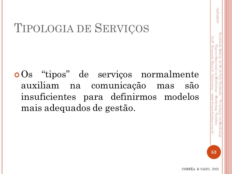 Tipologia de Serviços 02/09/2009.