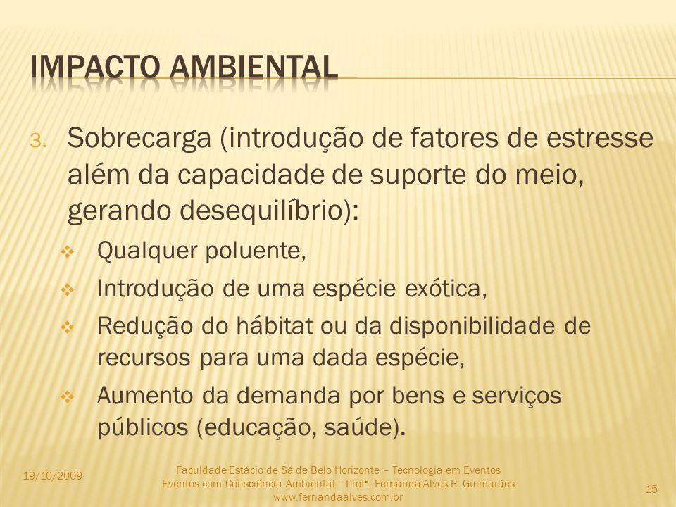Impacto ambientalSobrecarga (introdução de fatores de estresse além da capacidade de suporte do meio, gerando desequilíbrio):