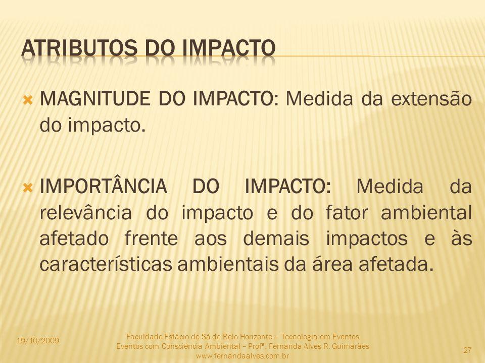Atributos do impacto MAGNITUDE DO IMPACTO: Medida da extensão do impacto.