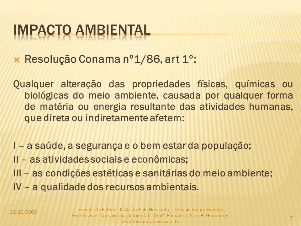 Impacto ambiental Resolução Conama nº1/86, art 1º: