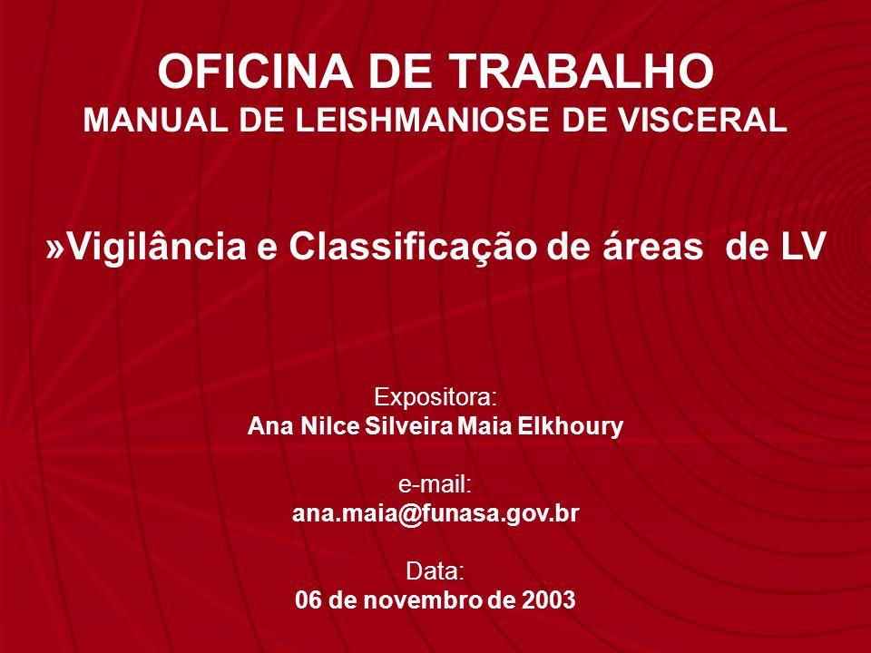 OFICINA DE TRABALHO »Vigilância e Classificação de áreas de LV