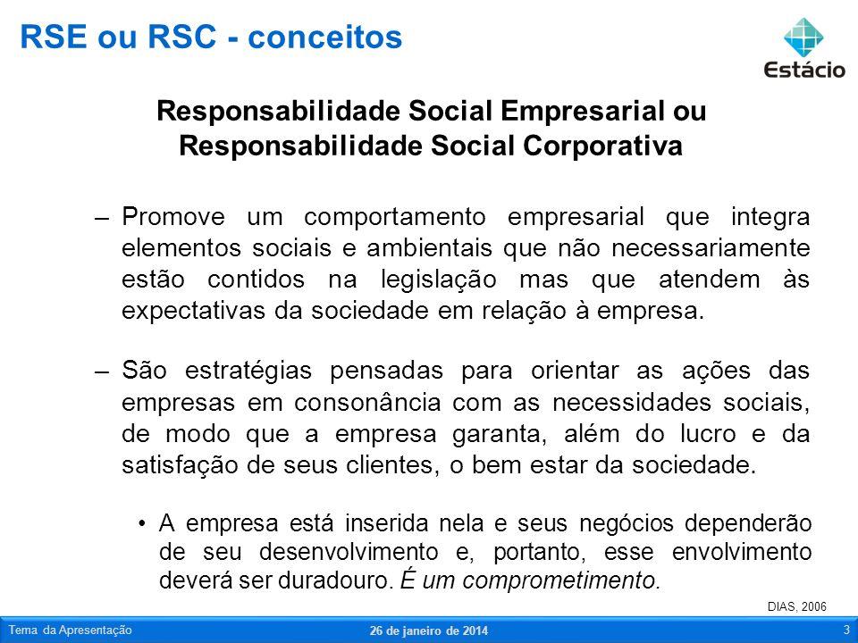 RSE ou RSC - conceitosResponsabilidade Social Empresarial ou Responsabilidade Social Corporativa.