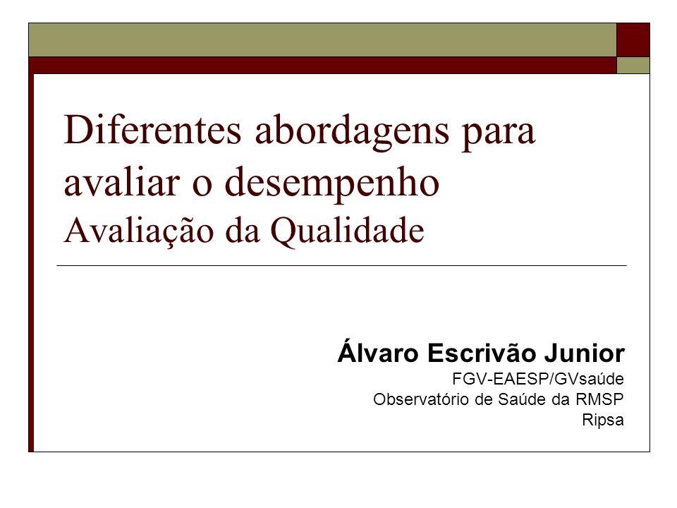 Diferentes abordagens para avaliar o desempenho Avaliação da Qualidade