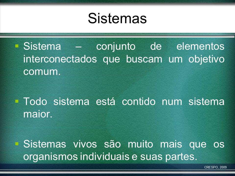 Sistemas Sistema – conjunto de elementos interconectados que buscam um objetivo comum. Todo sistema está contido num sistema maior.