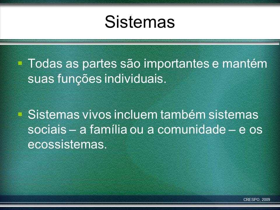 Sistemas Todas as partes são importantes e mantém suas funções individuais.