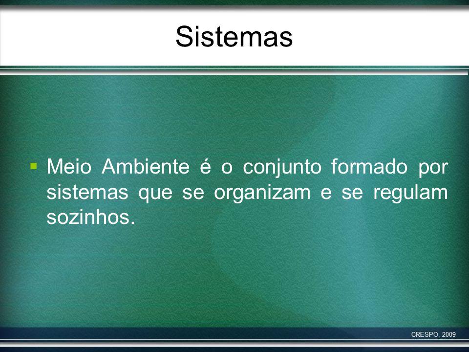 SistemasMeio Ambiente é o conjunto formado por sistemas que se organizam e se regulam sozinhos.