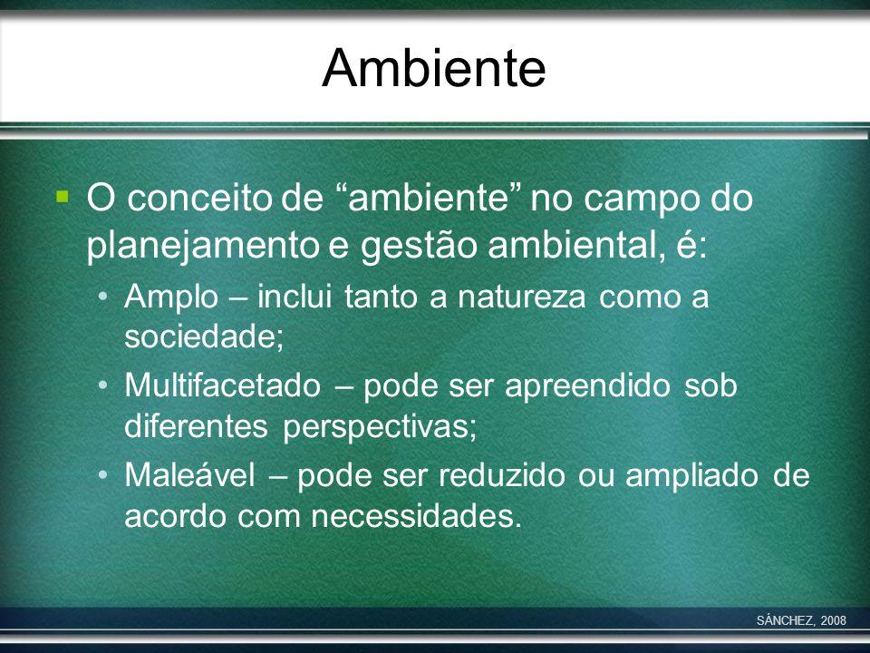 Ambiente O conceito de ambiente no campo do planejamento e gestão ambiental, é: Amplo – inclui tanto a natureza como a sociedade;