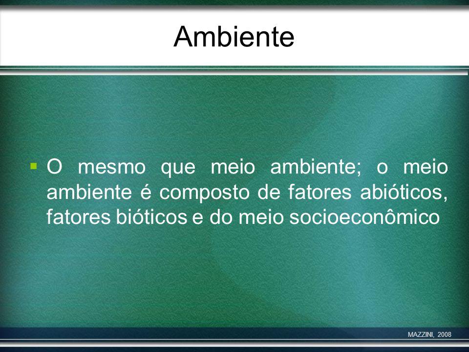 AmbienteO mesmo que meio ambiente; o meio ambiente é composto de fatores abióticos, fatores bióticos e do meio socioeconômico.