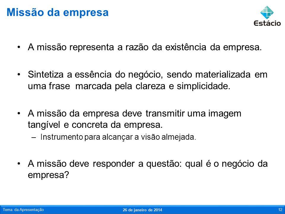 Missão da empresa A missão representa a razão da existência da empresa.