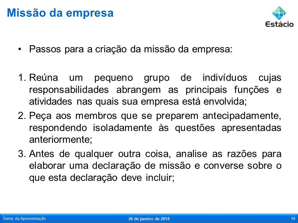 Missão da empresa Passos para a criação da missão da empresa: