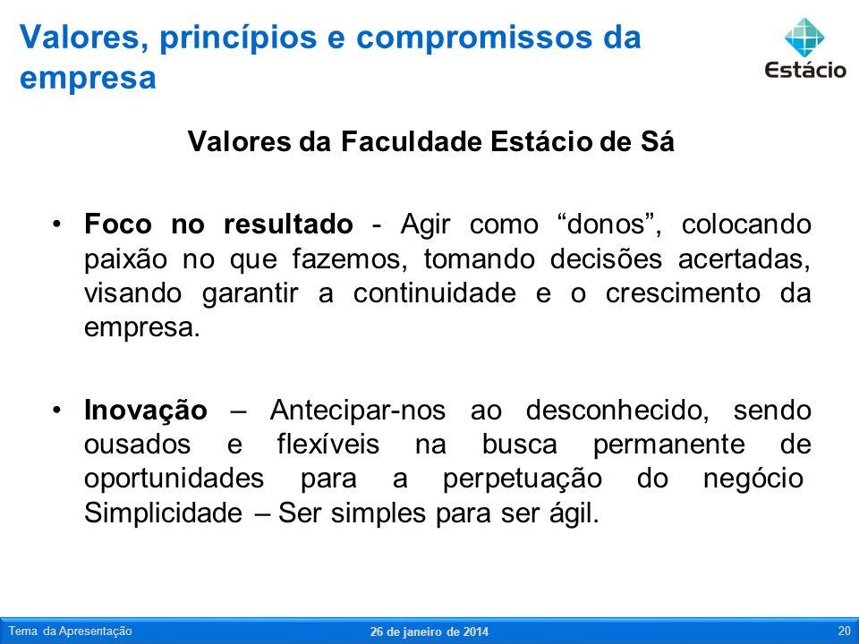 Valores, princípios e compromissos da empresa