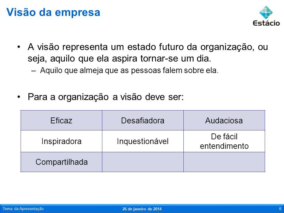 Visão da empresaA visão representa um estado futuro da organização, ou seja, aquilo que ela aspira tornar-se um dia.