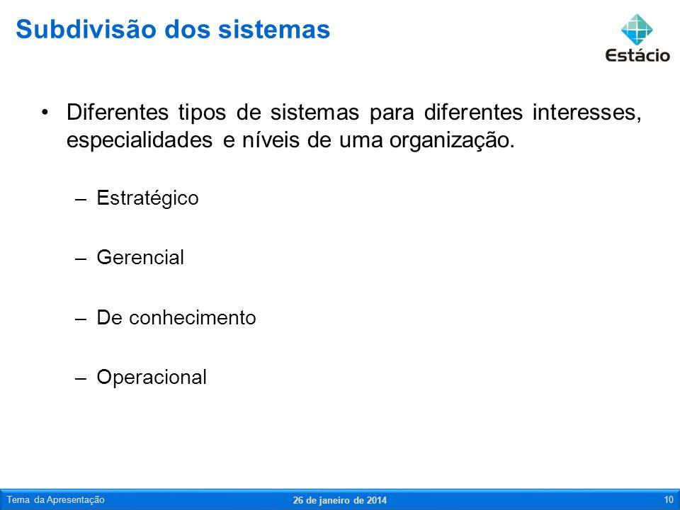 Subdivisão dos sistemas