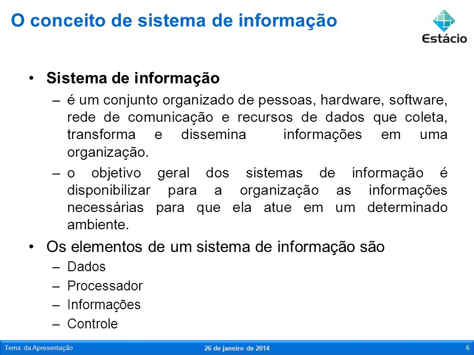 O conceito de sistema de informação