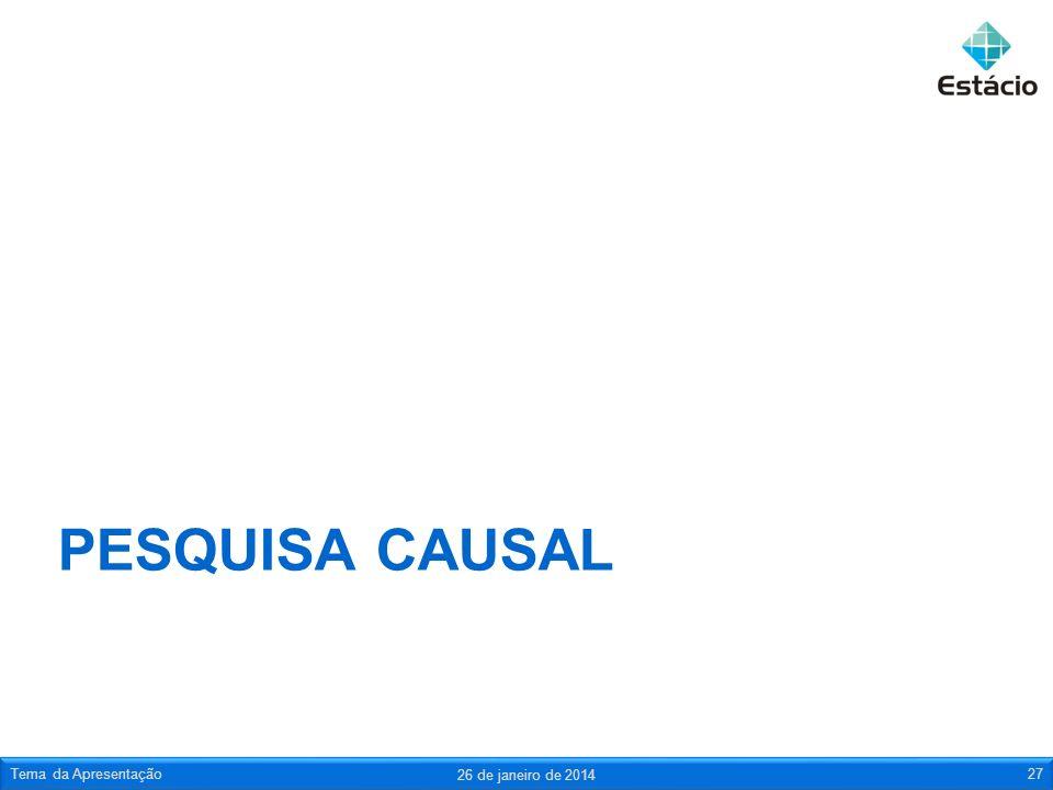 Pesquisa causal Tema da Apresentação 25 de março de 2017