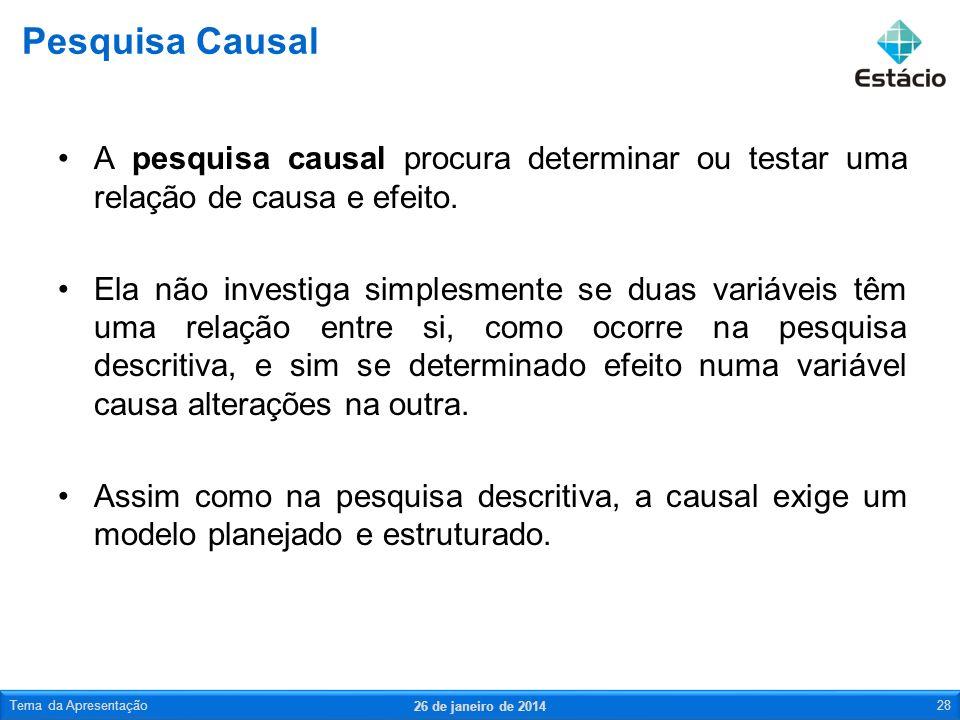 Pesquisa Causal A pesquisa causal procura determinar ou testar uma relação de causa e efeito.